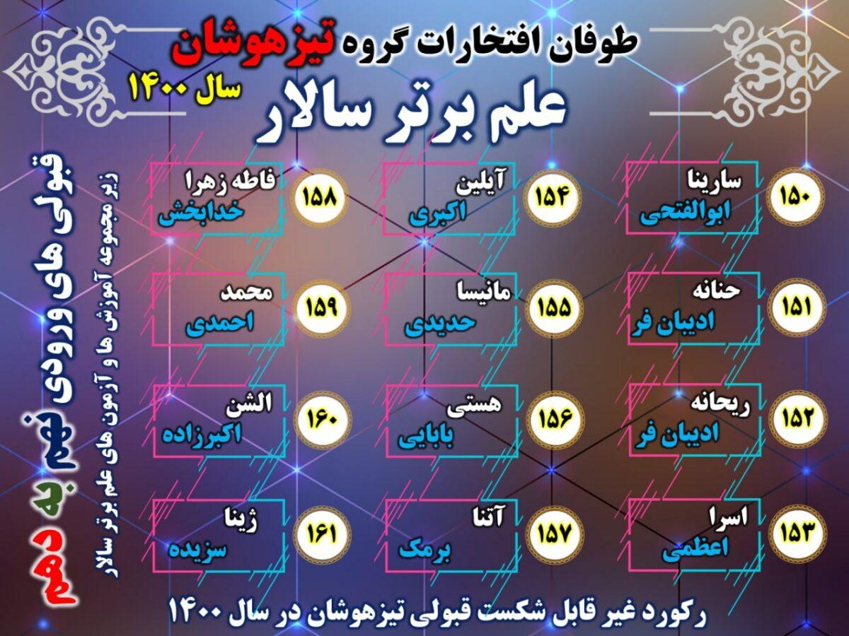#طوفان افتخارات علم برتر سالار در #تیزهوشان 1400 #ششم به…